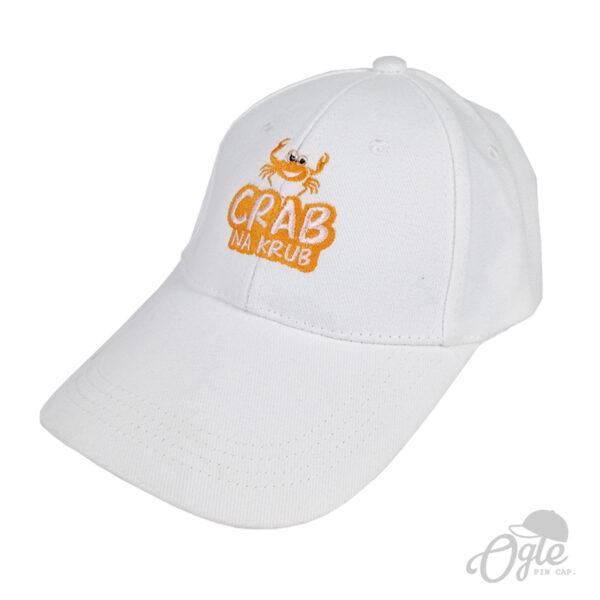 ปักหมวก หมวกพรีเมี่ยม หมวกแก๊ปผ้าพีช หมวกปักโลโก้ Crab na cub