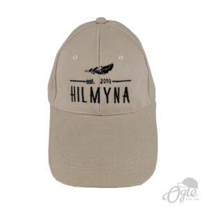 ปักหมวกพรีเมี่ยม หมวกแก๊ปผ้าพีช โลโก้ Hilmyna Handmade