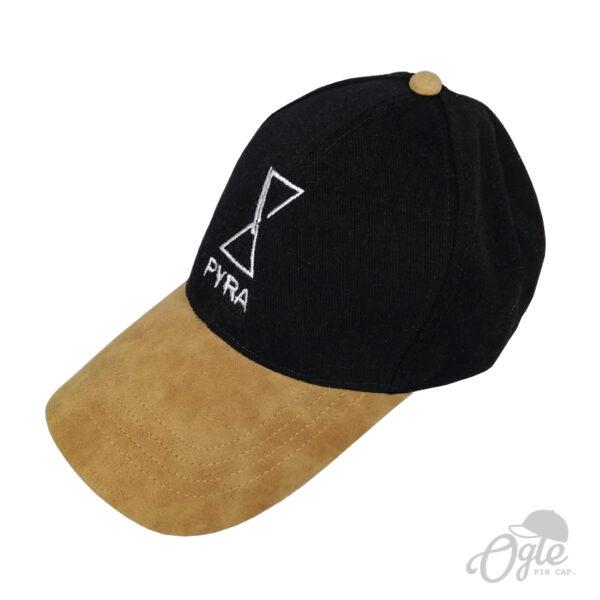 ปักหมวกพรีเมี่ยม หมวกแก๊ปปีกหมวกเป็นหนัง สีดำ โลโก้ PYRA