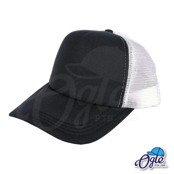 หมวกตาข่าย หน้าหมวกสีดำ ตาข่ายสีขาว