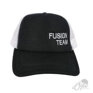 หมวกปักชื่อ หมวกต่ายข่าย ปักชื่อ FUSION TEAM