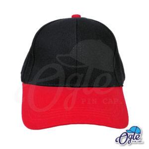 หมวกผ้าพีช สีดำ ปีหมวกสีแดง ด้านหน้า