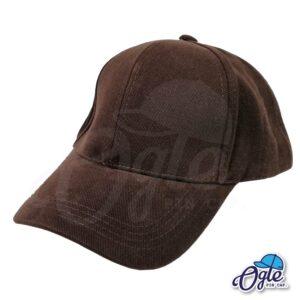 หมวกผ้าพีช-สีน้ำตาลเข้ม-ด้านข้าง
