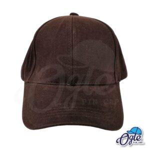 หมวกผ้าพีช-สีน้ำตาลเข้ม-ด้านหน้า