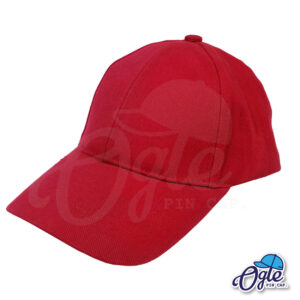 หมวกผ้าพีช สีเลือดหมู ด้านข้าง แบบซิปเลื่อนพลาสติก