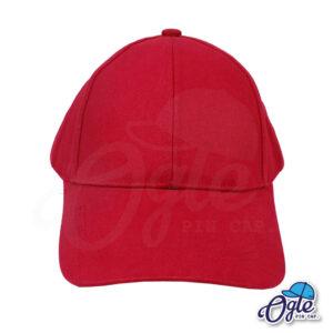 หมวกผ้าพีช-สีเลือดหมู-ด้านหน้า
