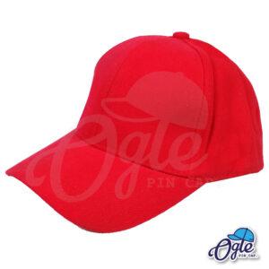 หมวกผ้าพีช-สีแดง-ด้านข้าง