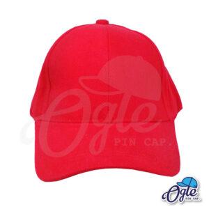 หมวกผ้าพีช-สีแดง-ด้านหน้า