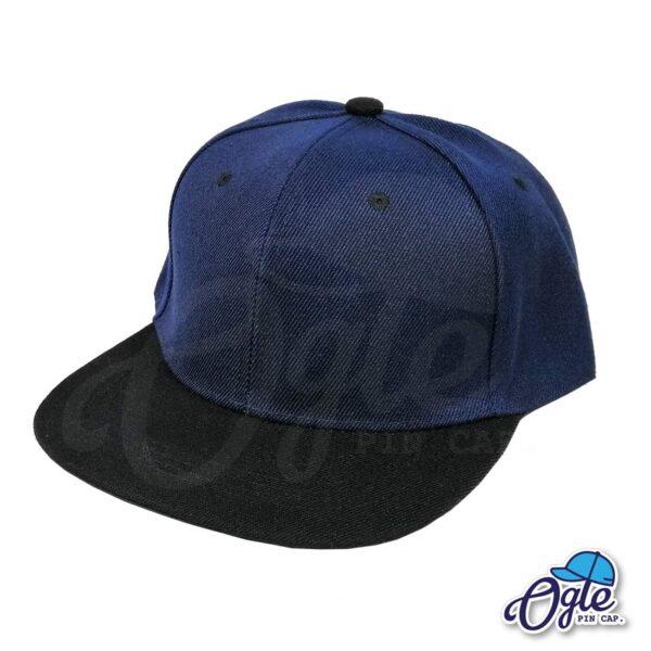 หมวกฮิปฮอป-สีกรม-ปีกหมวกสีดำ-ด้านข้าง