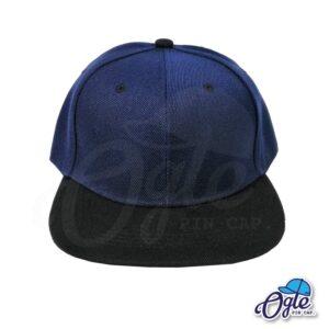 หมวกฮิปฮอป-สีกรม-ปีกหมวกสีดำ-ด้านหน้า