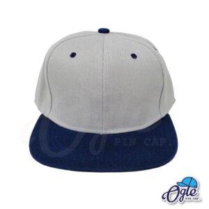 หมวกฮิปฮอป-สีเทา-ปีกหมวกสีกรม-ด้านหน้า