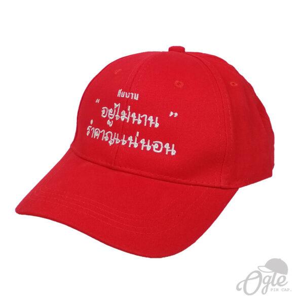 หมวกปักชื่อ-หมวกผ้าพีช-cotton-ปักชื่อทีม