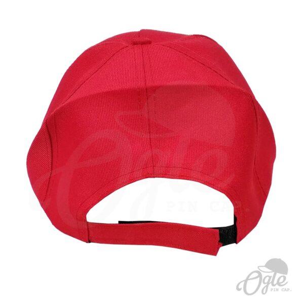 หมวกแก๊ป-ผ้าดีวาย-สีแดง-ด้านหลัง