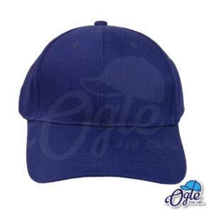 หมวกผ้าพีช-สีกรมท่า-ด้านหน้า-ตัวล็อคบัคเคิ้ลเหล็ก
