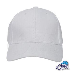 หมวกผ้าพีช-สีขาว-ด้านหน้า-ตัวล็อคบัคเคิ้ลเหล็ก