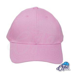 หมวกผ้าพีช-สีชมพู-ด้านหน้า-ตัวล็อคบัคเคิ้ลเหล็ก.jpg