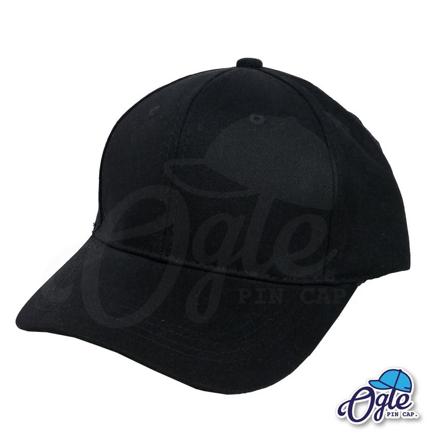 หมวกผ้าพีช-สีดำ-ด้านข้าง-ตัวล็อคบัคเคิ้ลเหล็ก