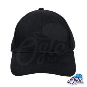 หมวกผ้าพีช-สีดำ-ด้านหน้า-ตัวล็อคบัคเคิ้ลเหล็ก
