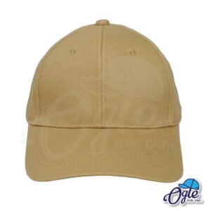 หมวกผ้าพีช-สีน้ำตาล-ด้านหน้า-ตัวล็อคบัคเคิ้ลเหล็ก