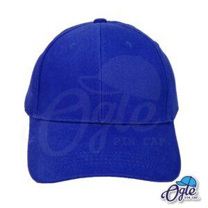 หมวกผ้าพีช-สีน้ำเงิน-ด้านหน้า-ตัวล็อคบัคเคิ้ลเหล็ก