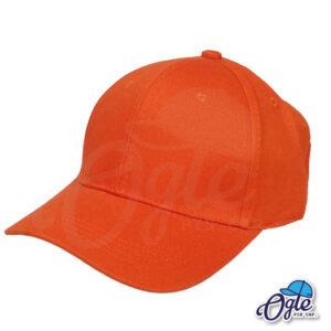 หมวกผ้าพีช-สีส้ม-ด้านข้าง-ตัวล็อคบัคเคิ้ลเหล็ก