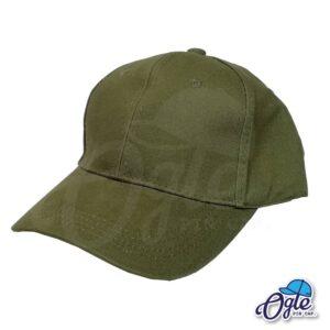 หมวกผ้าพีช สีเขียวขี้ม้า ด้านข้าง ตัวล็อคบัคเคิ้ลเหล็ก