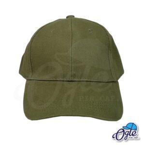 หมวกผ้าพีช สีเขียวขี้ม้า ด้านหน้า ตัวล็อคบัคเคิ้ลเหล็ก