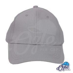 หมวกผ้าพีช-สีเทา-ด้านหน้า-ตัวล็อคบัคเคิ้ลเหล็ก