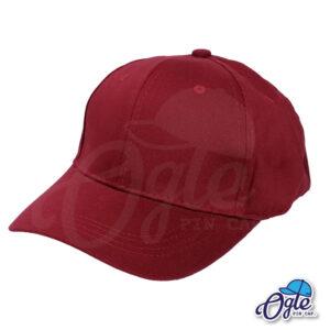 หมวกผ้าพีช-สีเลือดหมู-ด้านข้าง-ตัวล็อคบัคเคิ้ลเหล็ก