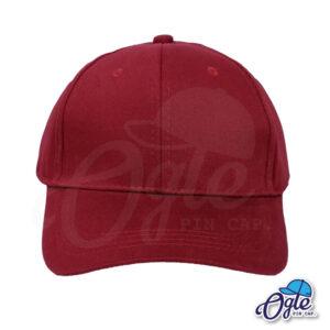 หมวกผ้าพีช-สีเลือดหมู-ด้านหน้า-ตัวล็อคบัคเคิ้ลเหล็ก