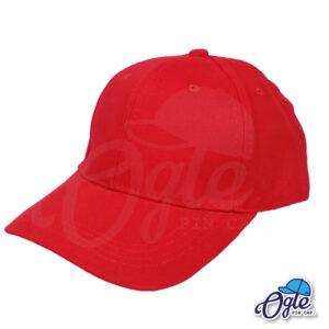 หมวกผ้าพีช-สีแดง-ด้านข้าง-ตัวล็อคบัคเคิ้ลเหล็ก