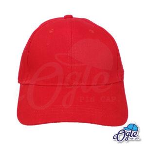 หมวกผ้าพีช-สีแดง-ด้านหน้า-ตัวล็อคบัคเคิ้ลเหล็ก