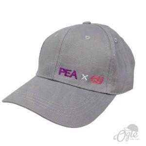 หมวกปักโลโก้-หมวกผ้าพีช-บัคเคิลเหล็ก-ปักโลโก้-PEAxCU-ด้านข้าง