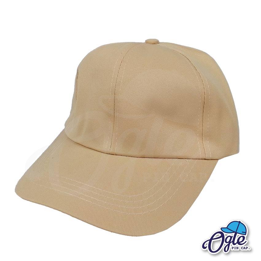 หมวกแก๊ป-ผ้าดีวาย-สีน้ำตาลอ่อน-ปักชื่อ