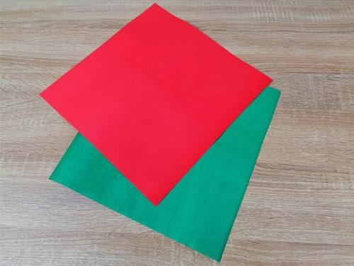 วิธีทำหมวกกระดาษ สีเขียว สีแดง 01