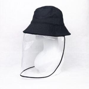 หมวกกันไวรัส-หมวกกันน้ำลาย-หมวกบักเก็ต-หมวกกันโควิด-COVID-19-ด้านซ้าย