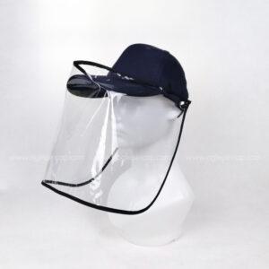 หมวกแก๊ป-หมวกกันน้ำลาย-หมวกกันไวรัส-หมวกกันโรค-COVID-19-สีกรม-ด้านซ้าย
