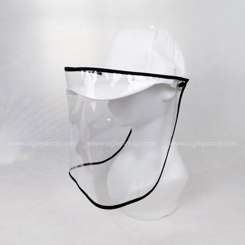 หมวกแก๊ป-หมวกกันน้ำลาย-หมวกกันไวรัส-หมวกกันโรค-COVID-19-สีขาว-ด้านซ้าย