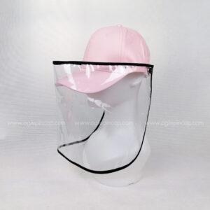 หมวกแก๊ป-หมวกกันน้ำลาย-หมวกกันไวรัส-หมวกกันโรค-COVID-19-สีชมพู-ด้านซ้าย