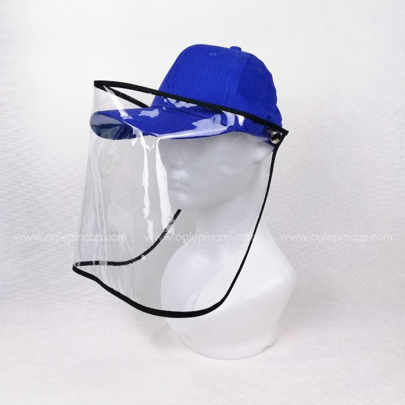 หมวกแก๊ป-หมวกกันน้ำลาย-หมวกกันไวรัส-หมวกกันโรค-COVID-19-สีน้ำเงิน-ด้านซ้าย