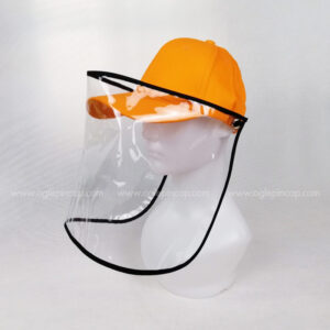 หมวกแก๊ป-หมวกกันน้ำลาย-หมวกกันไวรัส-หมวกกันโรค-COVID-19-สีส้ม-ด้านซ้าย
