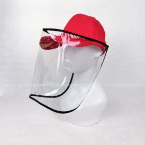 หมวกแก๊ป-หมวกกันน้ำลาย-หมวกกันไวรัส-หมวกกันโรค-COVID-19-สีแดง-ด้านซ้าย