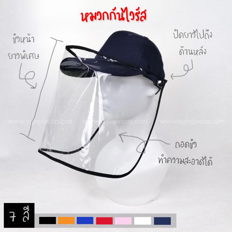 หมวกแก๊ป-หมวกกันโรค-หมวกกันไวรัส-หมวกกันโควิด-COVID-19-สีกรม-ปก