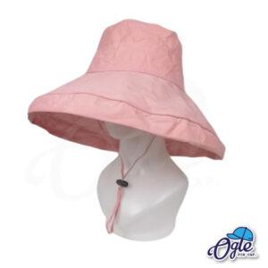 หมวกบักเก็ตปีกกว้าง-หมวกบักเก็ตมีเชือก-หมวกปีกรอบ-หมวกปีกกว้าง-สีชมพู-ด้านข้าง