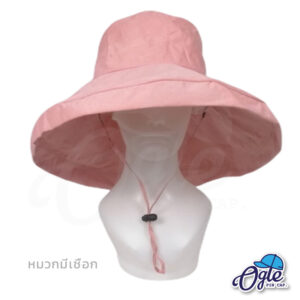 หมวกบักเก็ตปีกกว้าง-หมวกบักเก็ตมีเชือก-หมวกปีกรอบ-หมวกปีกกว้าง-สีชมพู-ด้านหน้า