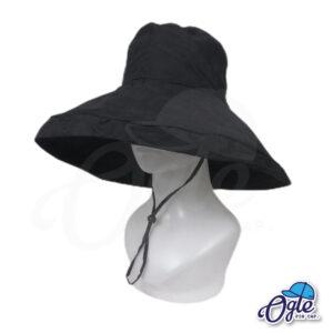 หมวกบักเก็ตปีกกว้าง-หมวกบักเก็ตมีเชือก-หมวกปีกรอบ-หมวกปีกกว้าง-สีดำ-ด้านข้าง