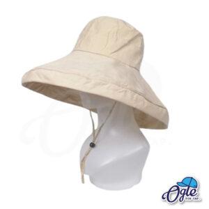 หมวกบักเก็ตปีกกว้าง-หมวกบักเก็ตมีเชือก-หมวกปีกรอบ-หมวกปีกกว้าง-สีน้ำตาลอ่อน-ด้านข้าง