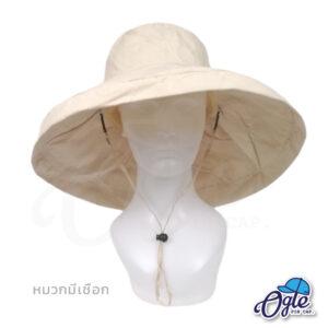 หมวกบักเก็ตปีกกว้าง-หมวกบักเก็ตมีเชือก-หมวกปีกรอบ-หมวกปีกกว้าง-สีน้ำตาลอ่อน-ด้านหน้า