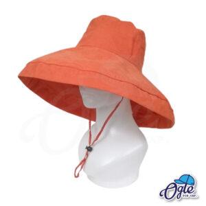 หมวกบักเก็ตปีกกว้าง-หมวกบักเก็ตมีเชือก-หมวกปีกรอบ-หมวกปีกกว้าง-สีส้ม-ด้านข้าง