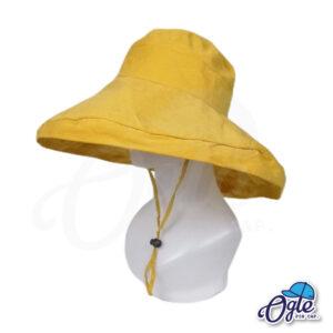 หมวกบักเก็ตปีกกว้าง-หมวกบักเก็ตมีเชือก-หมวกปีกรอบ-หมวกปีกกว้าง-สีเหลือง-ด้านข้าง